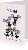Verjaardagskaart cheerleaders blauw