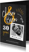 Verjaardagskaart 'cheers & beers' krijtbord met foto