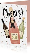 Verjaardagskaart cheers champagne wijn confetti