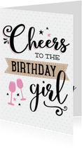 Verjaardagskaart Cheers girl