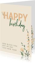 Verjaardagskaart christelijk pastelbloem