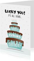 Verjaardagskaart corona met grote taart