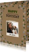 Verjaardagskaart craft confetti stoer