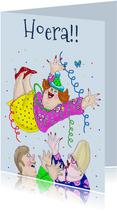 Verjaardagskaart De jarige in de lucht