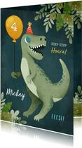 Verjaardagskaart dinosaurus, ballon, plantjes en feesthoedje