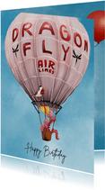 Verjaardagskaart draak in luchtballon