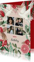 Verjaardagskaart Duiven en Bloemen