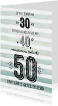 Verjaardagskaart echt 50 aquarelstrepen