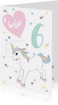 Verjaardagskaart eenhoorn hartjes ballon
