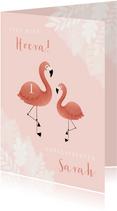 Verjaardagskaart eerste verjaardag met flamingo en jungle