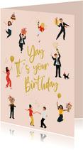 Verjaardagskaart feestelijke poppetjes