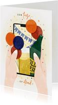 Verjaardagskaart feestje op afstand telefoon met confetti