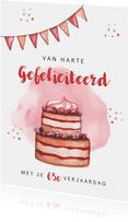 Verjaardagskaart felicitatie taart waterverf slingers