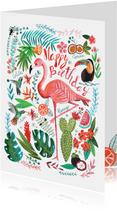 Verjaardagskaart flamingo en toucan in tropische jungle