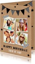 Verjaardagskaart fotocollage kraft slinger zwart-wit