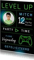 Verjaardagskaart game level up