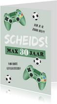 Verjaardagskaart gamen voetbal groen scheids
