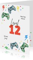 Verjaardagskaart gaming controllers level confetti