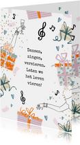 Verjaardagskaart gedichtje cadeau muzieknoot dansen