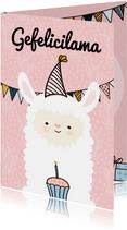 Verjaardagskaarten - Verjaardagskaart Gefelicilama pink