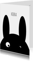 Verjaardagskaart gek konijn