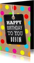 Verjaardagskaart gekleurde stippen labelprint
