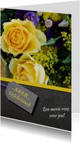Verjaardagskaart gele roos