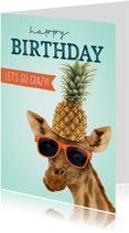 Verjaardagskaart giraf ananas