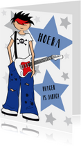 Verjaardagskaart gitaar sterren jongen