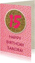 verjaardagskaart glitter en dots