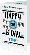 Verjaardagskaart grafisch met eigen leeftijd en naam