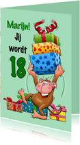 Verjaardagskaart grappige aap met grote trom