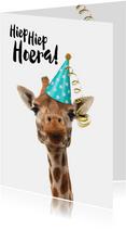 Verjaardagskaart grappige giraf met feesthoedje