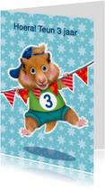 verjaardagskaart hamster jongen 3 jaar
