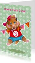 verjaardagskaart hamster meisje 3 jaar