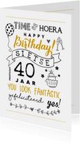 Verjaardagskaart handlettering illustraties