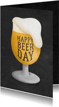 Verjaardagskaart happy beer-day krijtbord