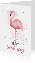 Verjaardagskaart happy bird-day met roze flamingo