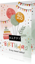 Verjaardagskaart happy birthday ballonnen slingers confetti