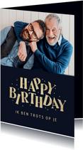 Verjaardagskaart happy birthday man confetti typografisch