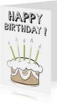Verjaardagskaart happy birthday tekst met creatieve taart