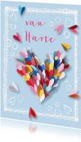 Verjaardagskaart hart hartjes