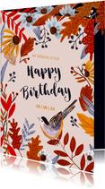 Verjaardagskaart herfst bloemen en vogel
