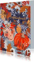 Verjaardagskaart herfstbladeren meisje