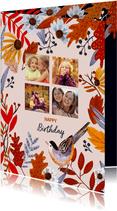 Verjaardagskaart herfstbladeren met foto collage