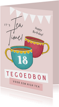 Verjaardagskaart high tea thee tegoedbon slingers