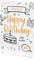 Verjaardagskaart hip feest goud vrolijk taart