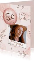 Verjaardagskaart hip met foto leeftijd en ballonnen