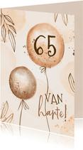 Verjaardagskaart hip met leeftijd en ballonnen