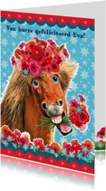 verjaardagskaart hip paard rechthoekig
